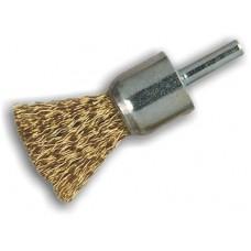Spazzole a pennello frontali in acciaio ottonato Ø25  gambo 6 MM